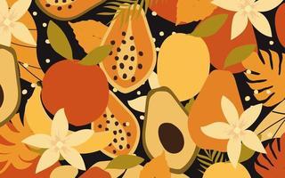 fundo de pôster de flores, folhas e frutas coloridas vetor