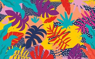 banner de folhas e flores coloridas