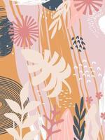 folhas coloridas e fundo de flores