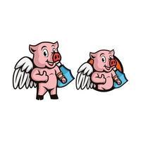porco super-herói com asas vetor