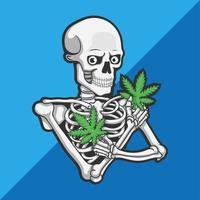 caveira com maconha cannabis vetor