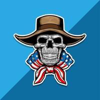 esqueleto americano com chapéu de cowboy vetor