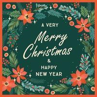cartão de feliz natal e feliz ano novo vetor