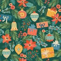 padrão de natal e feliz ano novo vetor
