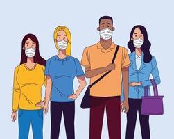 jovens inter-raciais usando personagens de máscaras médicas