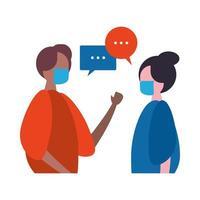casal inter-racial conversando e usando máscaras médicas personagens