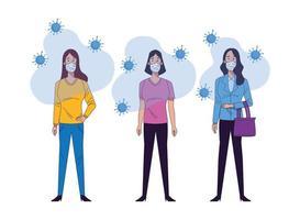 personagens de mulheres jovens usando máscaras médicas