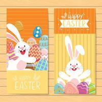 banners de feliz páscoa com ovos e coelho decorados vetor