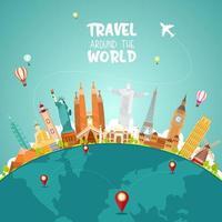 conceito de viagens ao redor do mundo com pontos de referência no globo vetor