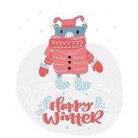 urso com roupas de inverno e texto feliz de inverno