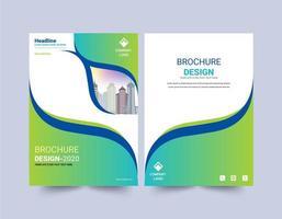 modelo de folheto de design de curva verde e azul vetor