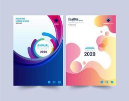 modelos de design de relatório anual de design de curva moderno vetor