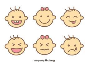 Bebê vetores expressão face