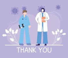 composição de saudação e gratidão para profissionais de saúde vetor