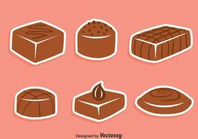 Vetores de doces de chocolate saborosos
