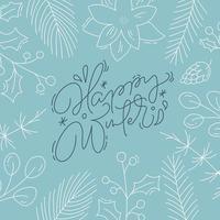 feliz caligrafia de inverno com folhagem de estilo de linha vetor