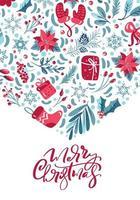 caligrafia de feliz natal e elementos de inverno vetor