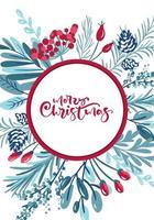 caligrafia de feliz natal em moldura cercada por folhagens vetor