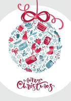 ornamento feito de elementos de inverno com texto de feliz natal vetor