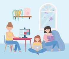 mulheres jovens fazendo atividades em casa vetor