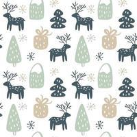 Natal sem costura desenhado à mão padrão com veado, presente, árvore vetor