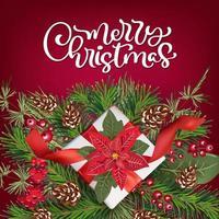 cartão de natal com poinsetia e decoração para presente vetor