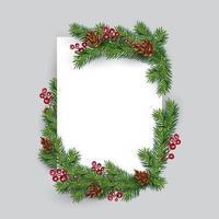 ramos de natal e bagas em torno do papel em branco vetor