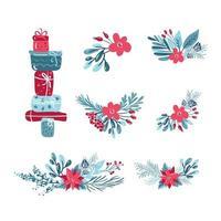 conjunto de ramos de flores de natal, caixas de presente vetor