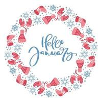 Olá janeiro, caligrafia, elementos de inverno grinalda