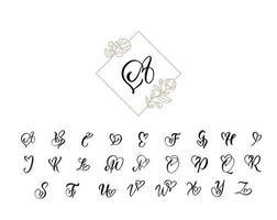 alfabeto de monograma de caligrafia de coração manuscrito vetor
