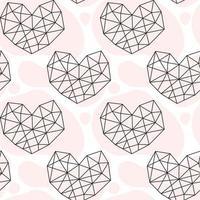 mão desenhada coração geométrico doodle padrão sem emenda vetor