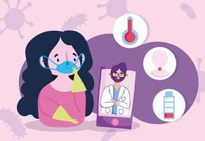 garota doente vendo o médico online