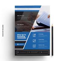 design criativo folheto azul brilhante vetor