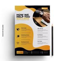 modelo de folheto de negócios amarelo, cinza e preto vetor