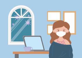 garota no laptop dentro de casa durante a pandemia de coronavírus vetor
