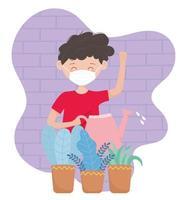 menino com máscara facial regando plantas
