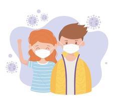 jovem casal usando máscaras durante o surto de coronavírus vetor