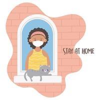 jovem mulher com gato na janela vetor