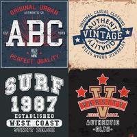 conjunto de estampas vintage para camisetas vetor