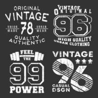 conjunto de selos com estampa de camiseta vintage vetor