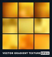 conjunto de texturas gradientes douradas vetor