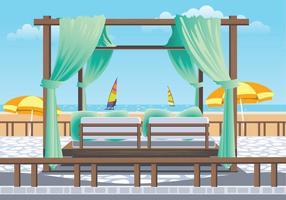 Outdoor Cabana Bed em um Resort vetor