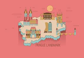 Vector Prague Landmark Mapa