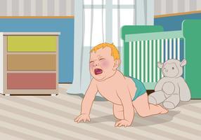 Bebê de grito Fora de Seu Vector Crib