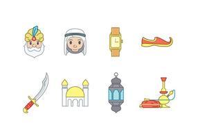Árabe ícones do vetor