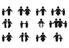 Simples família da silhueta Ícone Vectors