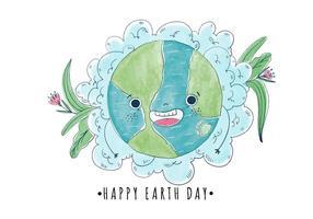 Bonito e desenhos animados Happy World Com Flores Dia da Terra vetor