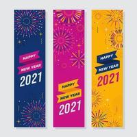 feliz ano novo com banner de fogos de artifício