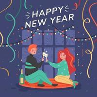 fique em casa celebração de ano novo vetor