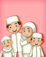 retrato de membro da família muçulmana vetor